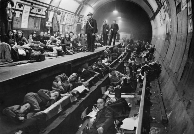 Shelter inside Aldwych station during the Blitz, 1940. Author: Unknown Public Domain