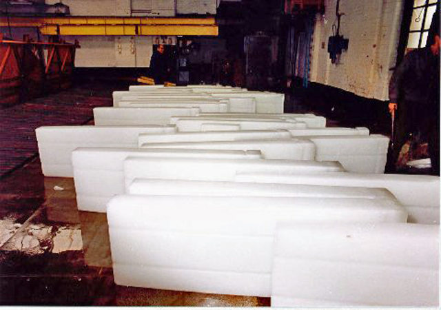 Slabs of manufactured ice. Photo Credit