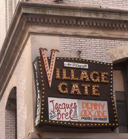 The Village Gate Sign adorned the corner of Thompson and Bleecker Streets until 2007. Author: Srosenstock. Public Domain