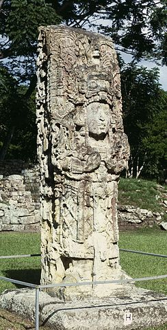 Stela H at Copán, ordered by Uaxaclajuun Ub'aah K'awiil. Author: HJPD – CC BY 3.0