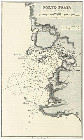 1884 Map of Porto Praya (now Praia) featuring Ilhéu de Santa Maria, written as Quail Island