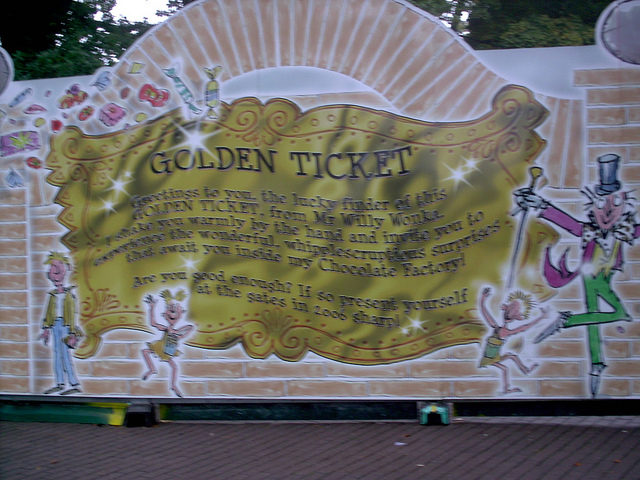 """""""You've Won a Golden Ticket!"""" The announcement that Toyland Tours was to become Charlie and the Chocolate Factory – Author: Matthew Wells – CC by 2.0"""
