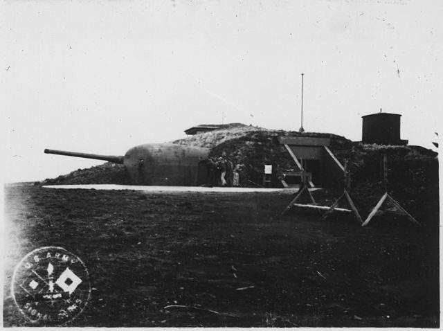 Battery 245, with two 6-inch rifles that had range of approximately 15 miles, constructed during World War II