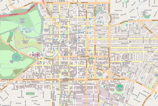 Location within the Christchurch Central City/ Author: Dr. Blofeld – CC BY-SA 2.0