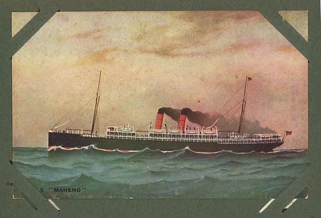Hand-colored postcard of the SS Maheno