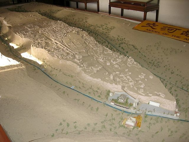 Model of the plateau on which Jiaohe is located/Author: Colegota – CC BY-SA 2.5 es