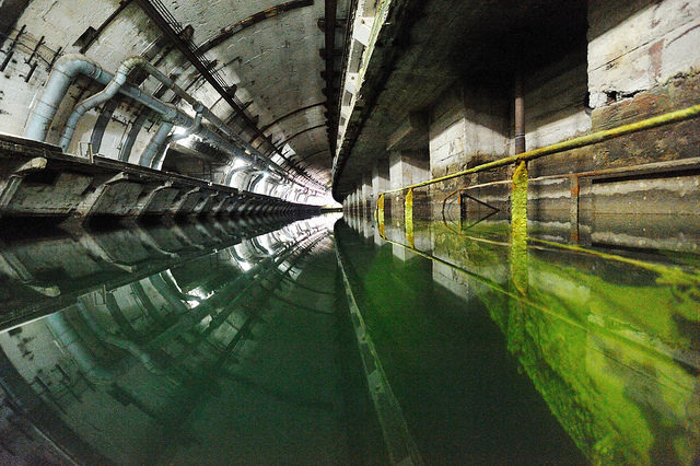 One of the underground channels that led to a labyrinth of tunnels in the former Soviet submarine base at Balaklava – Author: Land Rover Our Planet – CC BY 2.0