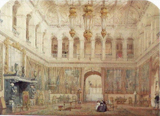 The Grand Hall at Mentmore. Author: Watercolour painted circa 1863. Public Domain
