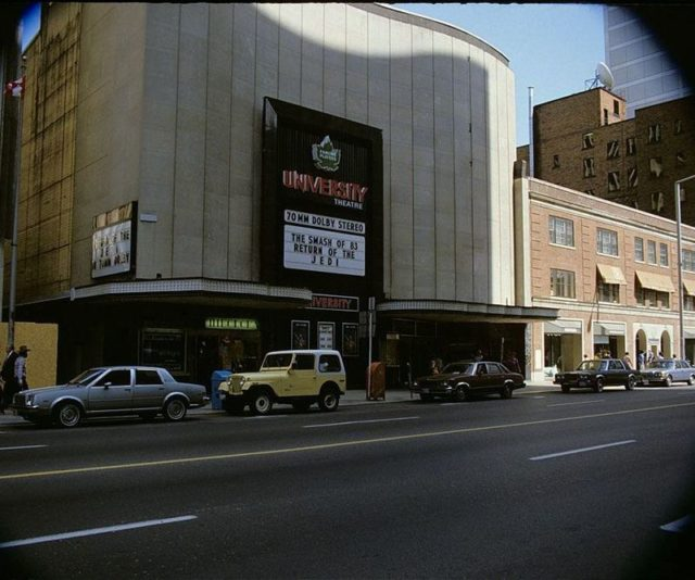 """Return of the Jedi showing at the University Theatre, with the marquee stating """"The Smash of 83"""". Author: Ellis Wiley. CC BY 2.0"""