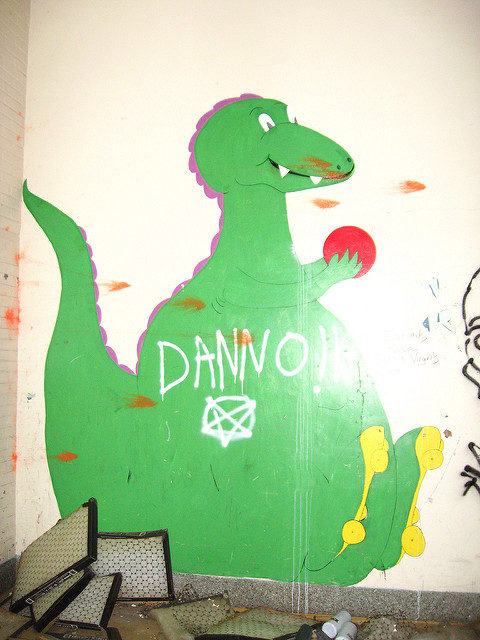 A dino mural on the wall. Author: Christina Welsh CC BY-ND 2.0