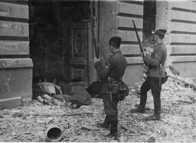 An example of Trawniki men executing Jewish people. Author:UnknownPublic Domain
