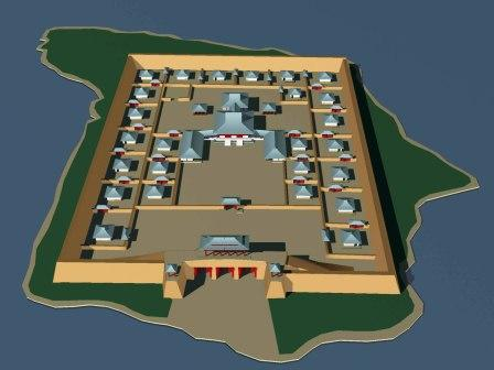 3D reconstruction drawing of Por-Bazhyn based on excavation results 2007/8/ Author: R.A. Vafeev – CC BY 4.0