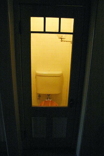 The bathroom had a window for a nurse to check on her. Author:Kai SchreiberCC BY-SA 2.0
