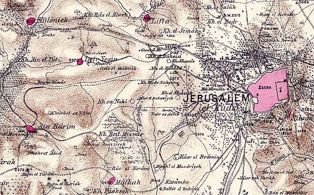 Lifta in relation to Jerusalem in the 1870s