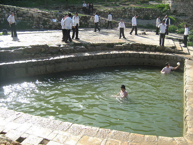 The ruined basin with spring water