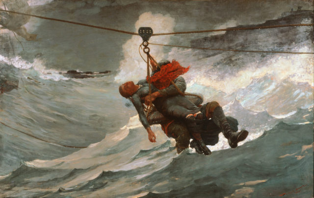 A breeches buoy in use. Author:Winslow HomerPublic Domain
