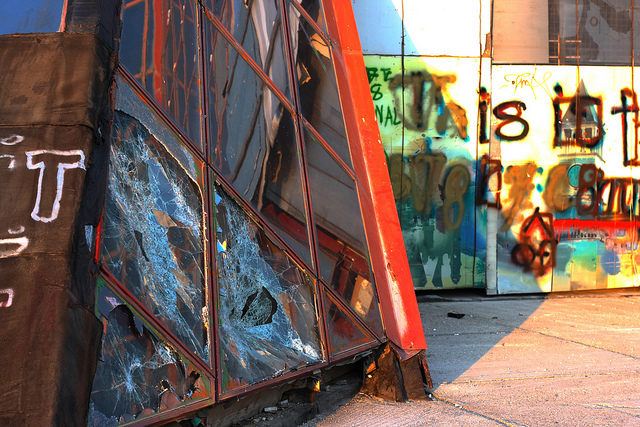 Broken glass and graffiti. Author:Antti T. NissinenCC BY 2.0