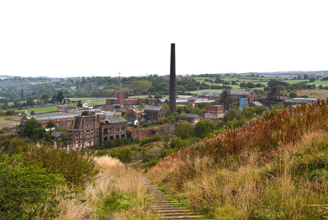 Chatterley Whitfield mine photographed from the nearby hill. Author:HalfmonkeyCC BY-SA 3.0