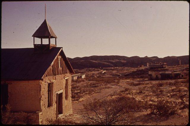Church in Terlingua, photo circa 1973. Author:Blair Pittman, 1937-, PhotographerPublic Domain
