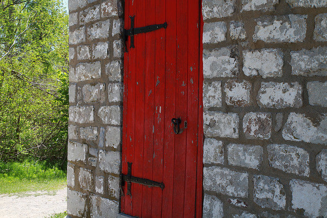 Close-up of the red door. Author:Joseph MorrisCC BY-ND 2.0