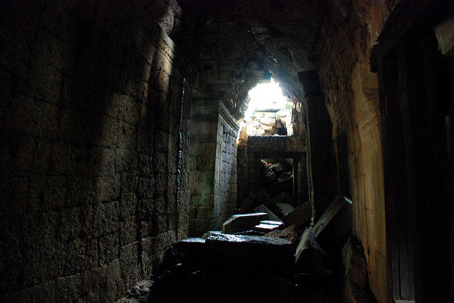 Inside one of the structures at the temple. Author: Damien @ Flickr. CC BY 2.0