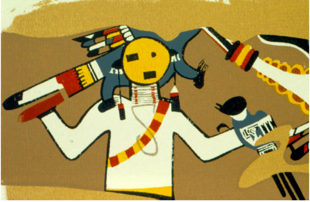 Restoration of Awatovi muralfrom the Peabody Museum excavations, probably made by the Hopi painter Fred Kabotie