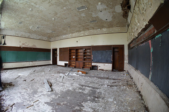 One of the abandoned classrooms. Author:Cory SeamerCC BY 2.0