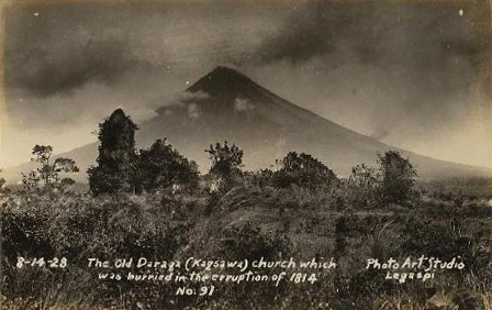 Photo of the church and the volcano.