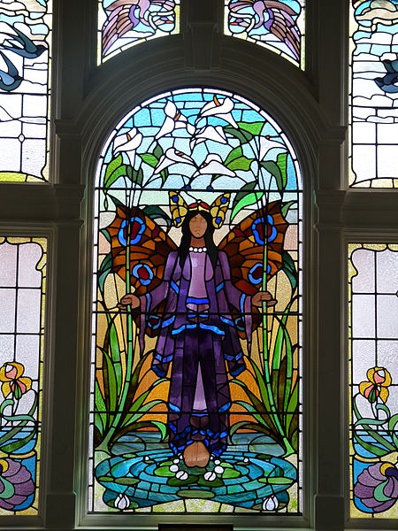 Stained glass window part of the Turkish Bath. Author:Nathan StazickerCC BY-SA 3.0