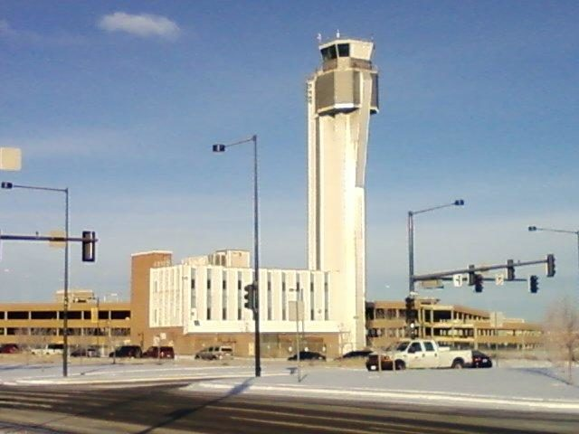 Stapleton International control tower different angle. Author: Xnatedawgx CC BY-SA 3.0