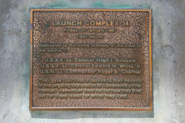 The Apollo 1 Plaque. Author:Tony RicePublic Domain
