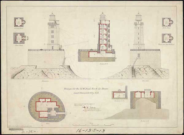 The blueprints of the lighthouse. Author: U.S. government – National Archives Public Domain
