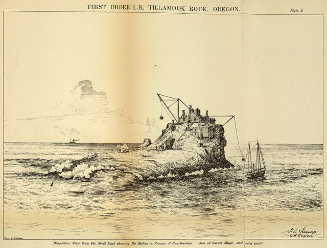 The construction of the Tillamook Rock Light. Author:United States Lighthouse Board Public Domain