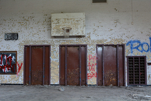 The destroyed gym. Author:Cory SeamerCC BY 2.0
