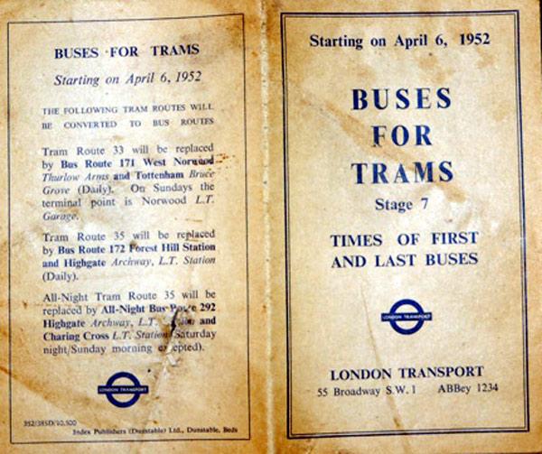 London Transport timetable and changes leaflet.