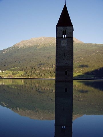 The bell tower is theonly remainder of the town of Graun