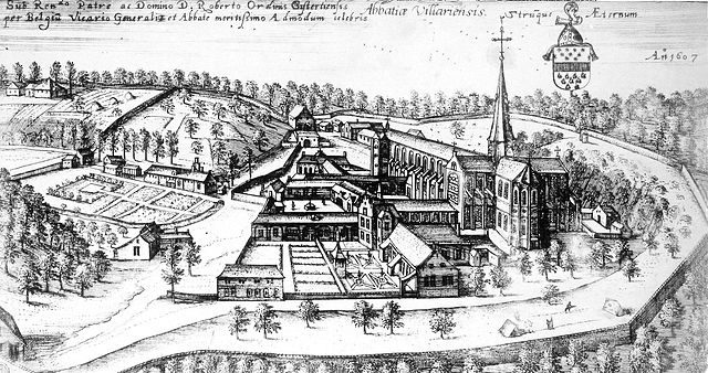 Villers Abbey 1607, anonymous engraving/ Author: Jean-Pol GRANDMONT – CC BY 2.5