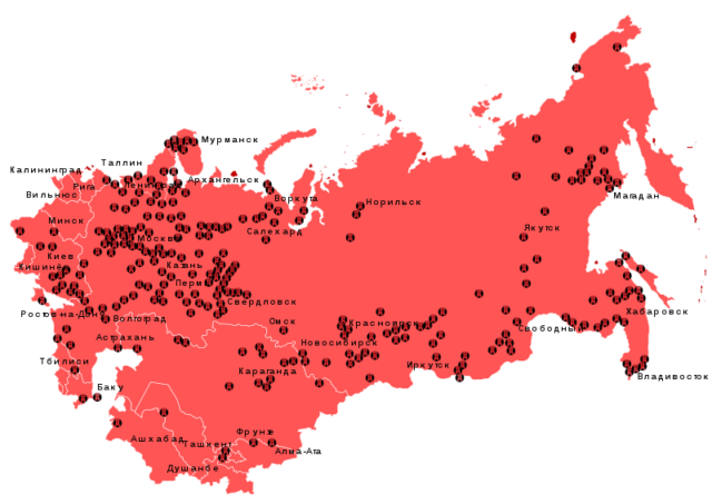 A map depicting the various Gulag prison-camps. Author:AntonuCC BY-SA 3.0