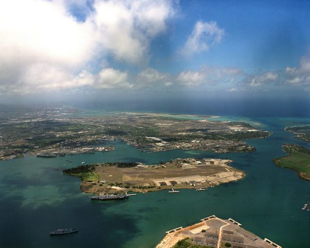 Aerial view of Pearl Harbour. Author:PH2 Thompson, USN