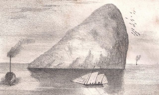Ailsa Craig as drawn in the 1840s. Author:Roger Griffith – Memorials of Clutha. E A Phipps. 1841