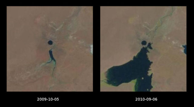 An aerial photo of Lake Chagan and its transformation. Author:USGS/NASA Landsat Program; comparison made by Szczureq – Images from USGSPublic Domain