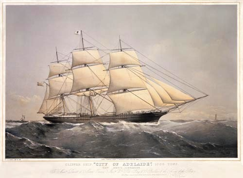 Clipper Ship, City of Adelaide painting made by Thomas Dutton. Author: Thomas Dutton