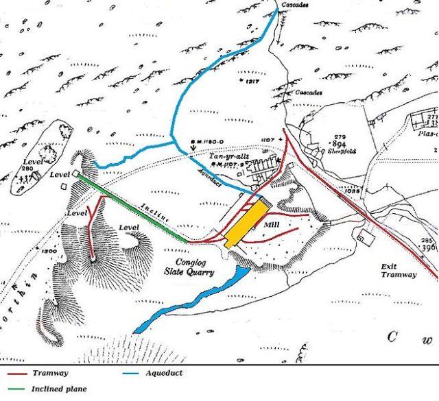 Conglog Slate Quarry map. Author:Ordnance Survey – Ordnance Survey 1:2500 map 1919