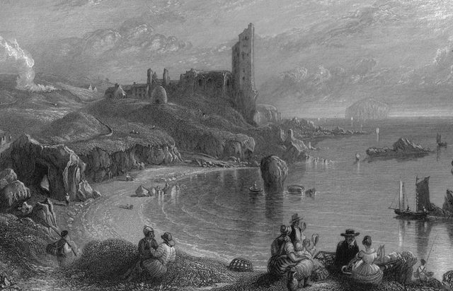 Drawing of Ailsa Craig in the background. Author:Unknown – Wilson. Land of Burns. 1840
