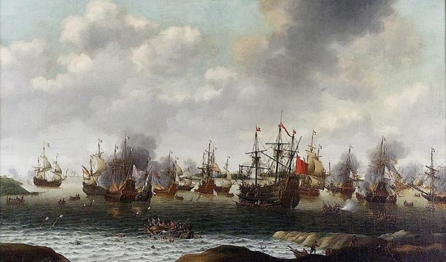 Dutch Attack on the Medway. Author:Pieter Cornelisz van Soest – Royal Greenwich Museums