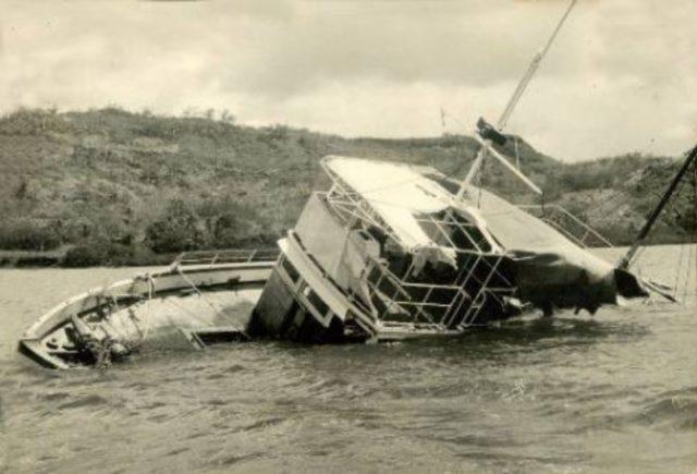 MV Joyita partially submerged. Author:Unknown photographer