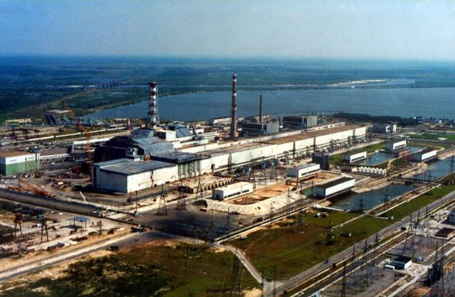 The Chernobyl nuclear power plant, photo from the air. Author:IAEA ImagebankCC BY-SA 2.0