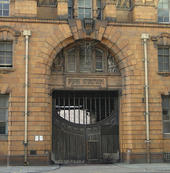 The fire station entrance. Author:RichermanCC BY-SA 3.0