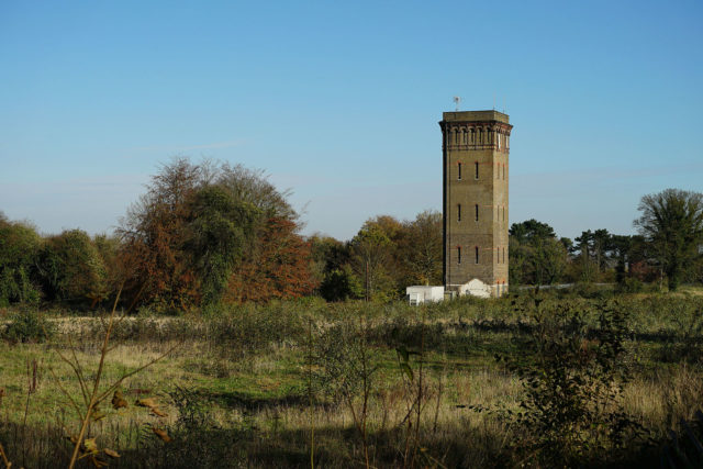 The Water Tower which is one of the remaining parts of the asylum. Author: Peter Trimming. CC BY 2.0