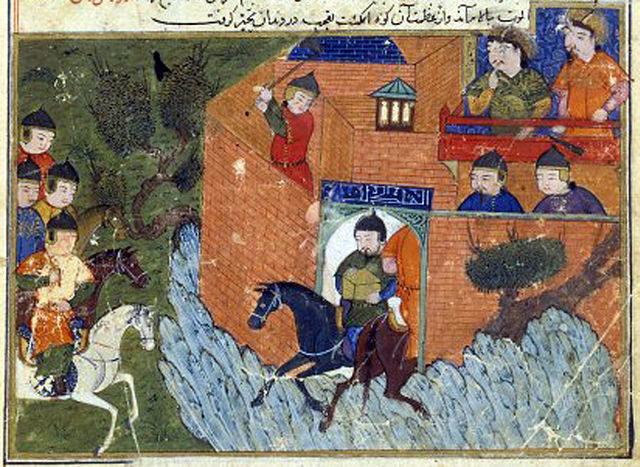Siege of Alamut 1213-1214, depicted in the Jami' al-tawarikh by Rashid-al-Din Hamadani.